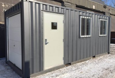 Conteneurs - mobiles (bureau 20 pieds avec porte de garage)